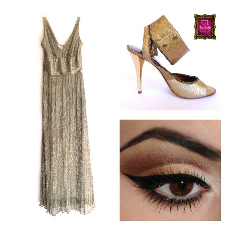Un vestido dorado ilumina, da categoría y resalta lo mejor de ti, te recomendamos esta combinación de elementos para que seas la reina de la noche...