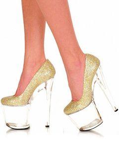 Sexy stiletto tacchi a spillo punta rotonda trasparente omologato Glitter (7,9 pollici)