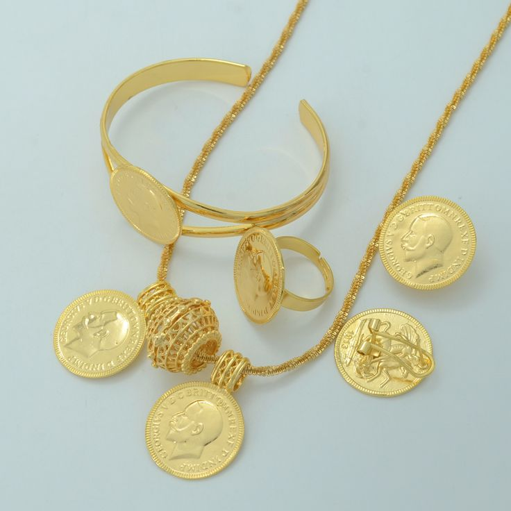 Gold Coin Jewelry sets,Ethiopian Coin set Necklace Pendant/Earrings/Ring/Bangle Habesha Wedding Eritrea/Africa/Arab Gift #000601