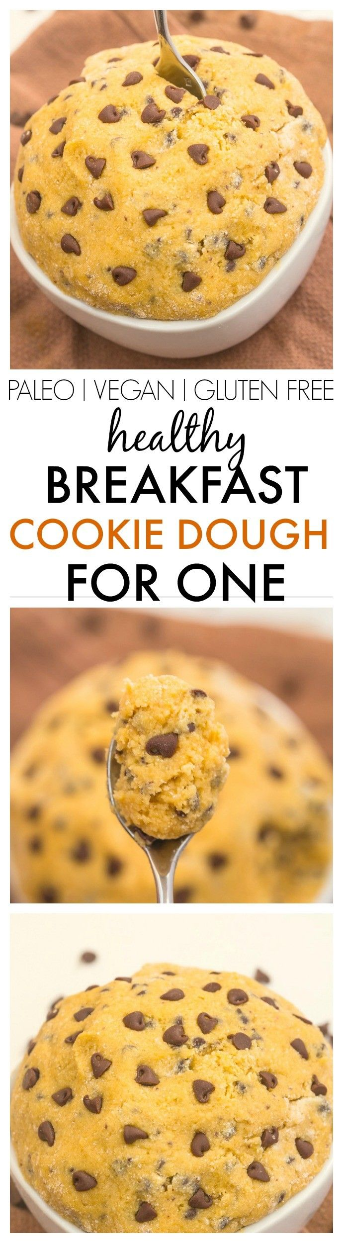 Healthy Breakfast Cookie Dough for ONE- The taste and texture of real cookie dough but with NO butter, white flour, sugar oil oil- It's packed with protein and ready in five minutes! {vegan, gluten free, paleo, refined sugar free recipe}- thebigmansworld.com #breakfast #healthy