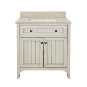Klein 30 in. Vanity in Antique White with Quartz Vanity Top in Beige and Basin, KLWVT3122D at The Home Depot - Tablet