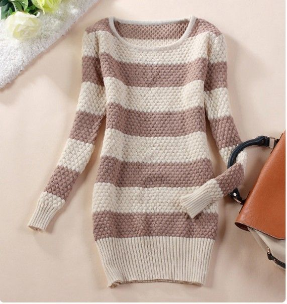 3308 2013 Autumn and Winter Long Sleeve Knitted Pullover Sweaters For Women Fashion Casual Medium-long Women's Sweater Dresses $15.88