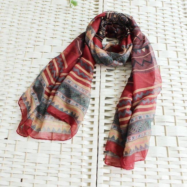 Длинные ретро ацтеков богемный вуаль глушитель красивые красочные длинный мягкий шали обруча пляж плавать шарф