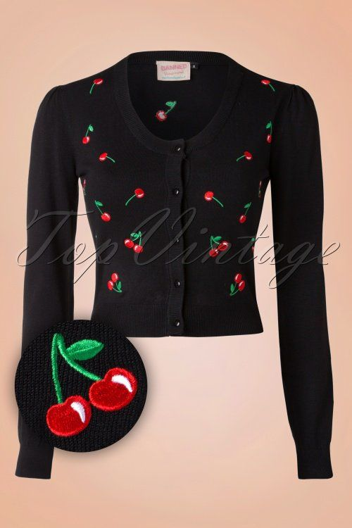 Banned - 50s Drive me Crazy Cherries Cardigan in Black