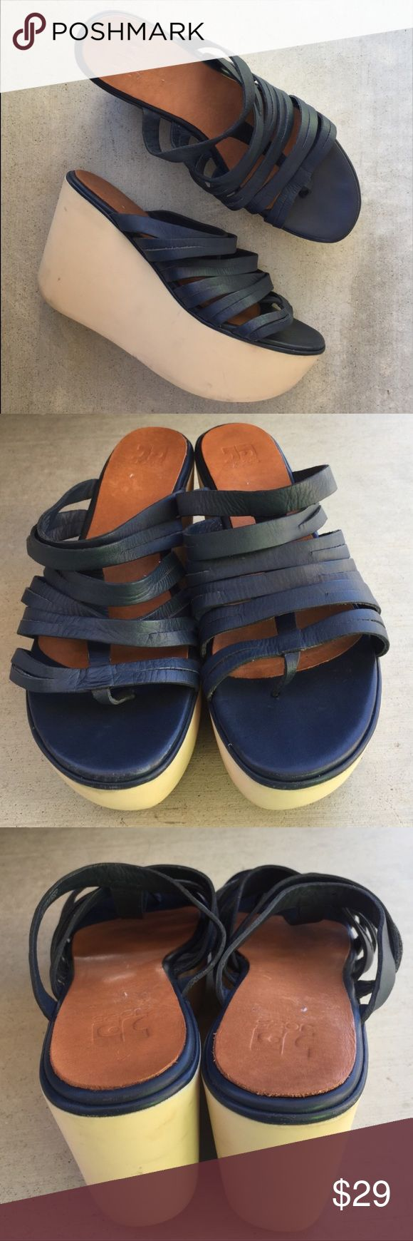 Joe's navy blue strappy platform shoes size 10 Gently worn , wedge is 4 inches , leather , size 10 Joe's Shoes Platforms