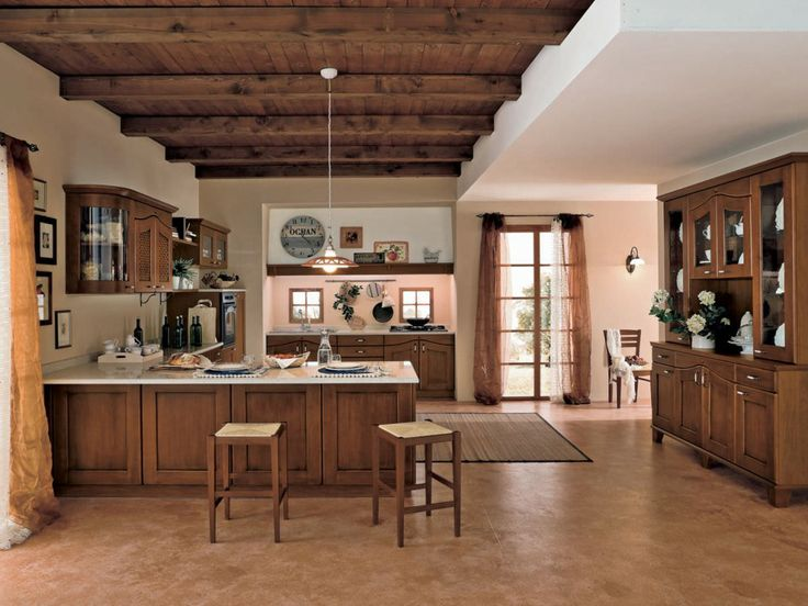 Elegant Kitchen Minimalist Kitchen Design With Visible Beam Ceiling Solid Wood Kitchen Counter And