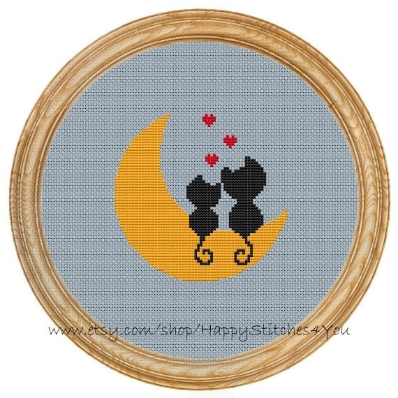 Cross Stitch Pattern PDF love cats moon DD0025