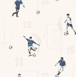 Dutch WallcoveringsCarousel kinderbehang Voetbal Prijsper rol €23,95 Afmetingen: 10M lang en 52CM breed Artikelnummer: DL21145 Patroon: 53CM Kleur: blauw, grijs, zwart, wit Behangplaksel: Perfax blauw Kwaliteit: papierbehang