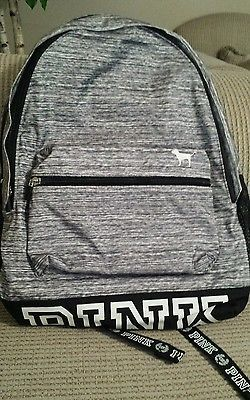 Victorias Secret PINK Backpack Bookbag Light Gray Marl logo Victoria's NEW