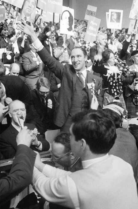 In the late 1960s Wieland was initially swept up in Trudeaumania, the wave of excitement generated by Pierre Elliott Trudeau's rise to power. Prime Minister Trudeau at the Liberal Leadership Convention in Ottawa in 1968. #ArtCanInstitute