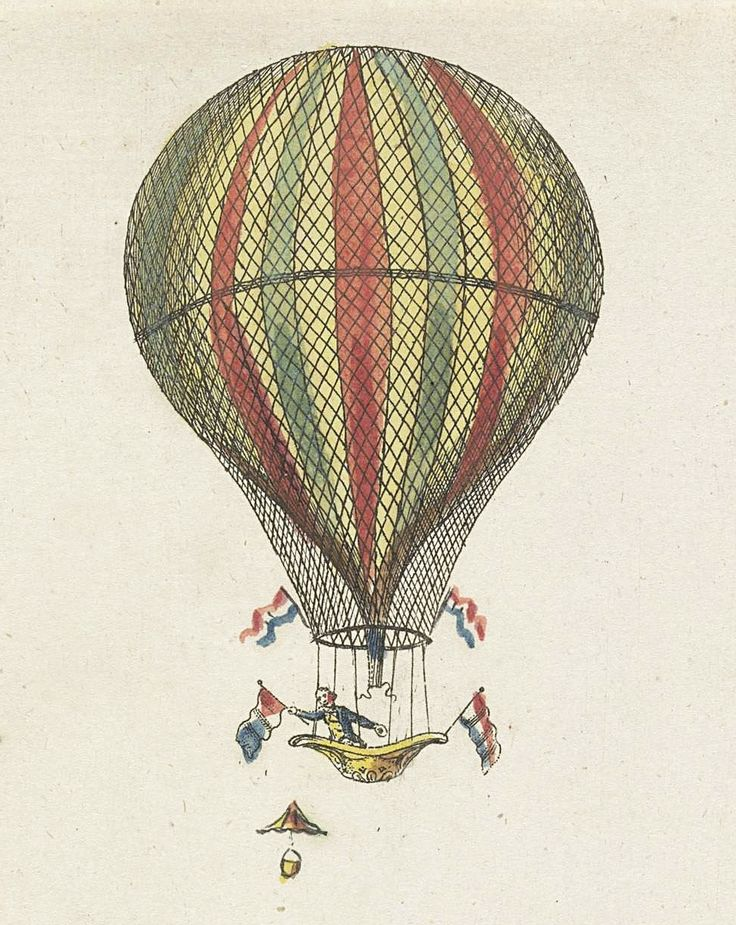 Mr Augustin of Augustijn on his seventh balloon trip from the Drilveld at the Utrecht gate, Amsterdam. Etching, anonymous (Dutch). 1806, Rijksmuseum