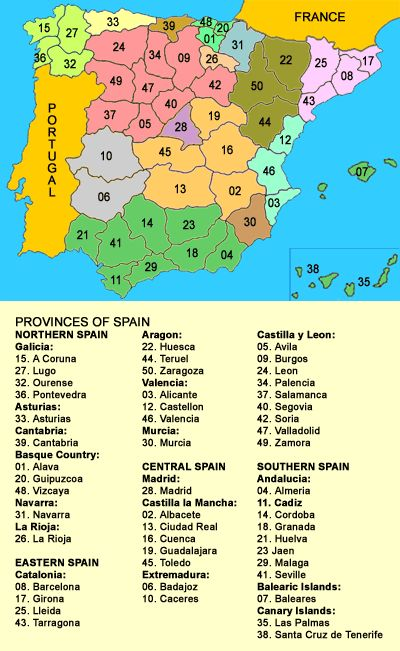 Map of Provinces of Spain