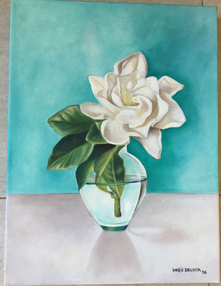 Óleo flor blanca  Ines Etcheberry