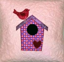 Gecko Fabric Art - applique quilted cushion cover - birdhouse design
