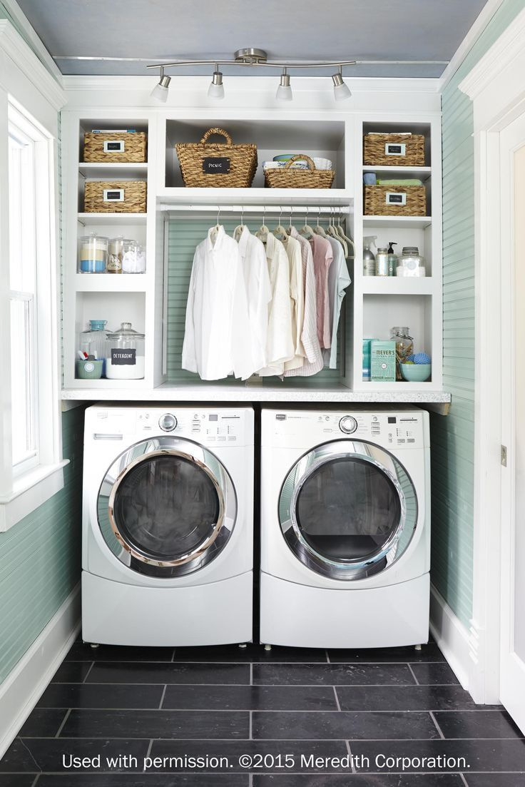 Home laundry room ideas: Decora's Daladier cabinets are perfect for creating the ultimate utility room, complete with space-saving design guaranteed to keep any laundry room clean and tidy. See our feature in /bhg/ Storage. Used with Permission. ©2015 Meredith Corporation.