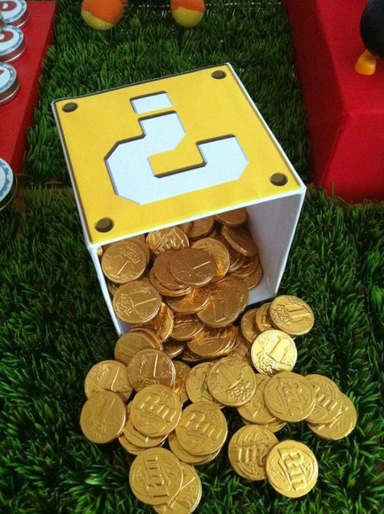 Could totally make this for Ty but with the chocolates that look like gold. #SuperMario #Wedding #nerdy