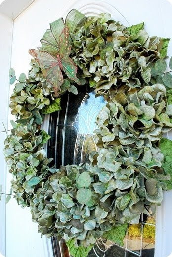 hydrangea wreath minus the butterfly and bow.