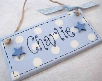 Personalised Name Plaque - Blue and cream