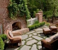 another flagstone patio with grass idea