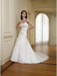 Tulle Sweetheart Hand-Beaded Lace Bodice A-line Wedding Dress