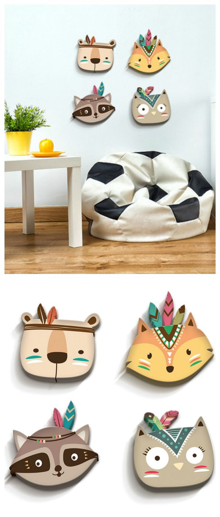 Perfect D Deko f rs Kinderzimmer S e Indianer Tiere als Wanddeko home decor for the