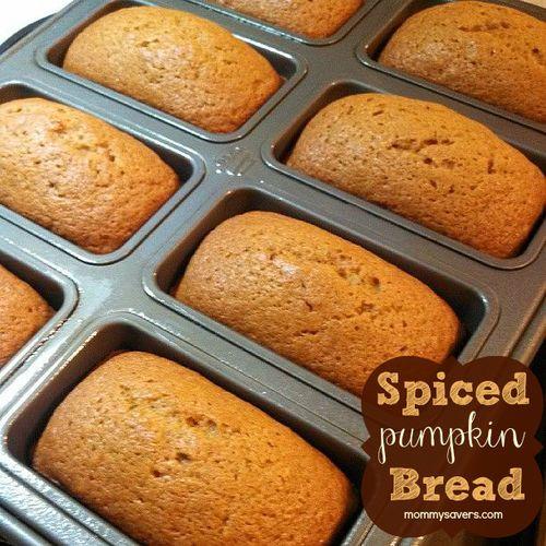 Spiced Pumpkin Bread 3 1/2 c flour 2 tsp baking soda 1 tsp baking powder 1 tsp pumpkin pie spice 2 tsp cinnamon 1/2 tsp nutmeg 1/4 tsp ground cloves 1 tsp salt 3 c sugar 1 c vegetable oil 4 eggs 1 (15oz)can pumpkin puree 1/2 c water