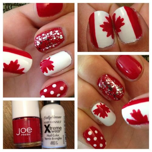 Canada Day nails! Try these for the Olympics! Go Team Canada! Canada nail art, maple leaf, Canada flag | See more nail designs at http://www.nailsss.com/...