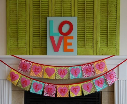 Valentine's Day buntingValentine Crafts, Valentine'S Day, Ideas, Valentine Day Crafts, Heart, Diy Valentine Day, Valentine Decor, Bright Colors, Banners