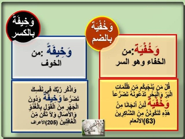 معاني بعض الألفاظ المتشابهة في القرآن الكريم ملتقي مقاومي التنصير Beautiful Arabic Words Arabic Words Words