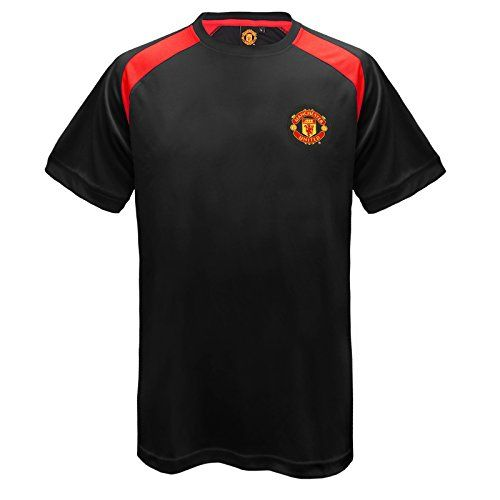 From 14.99 Manchester United Fc Official Gift Mens Poly Training Kit T-shirt Black Medium