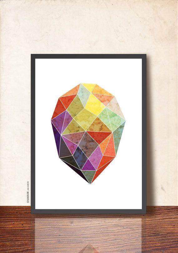 GEOMETRIC Art Poster, Gem Print A3, Jewel Wall Decor, Geometric facet, Abstract imaginary Precious Stone. Blue, purple, yellow, mint