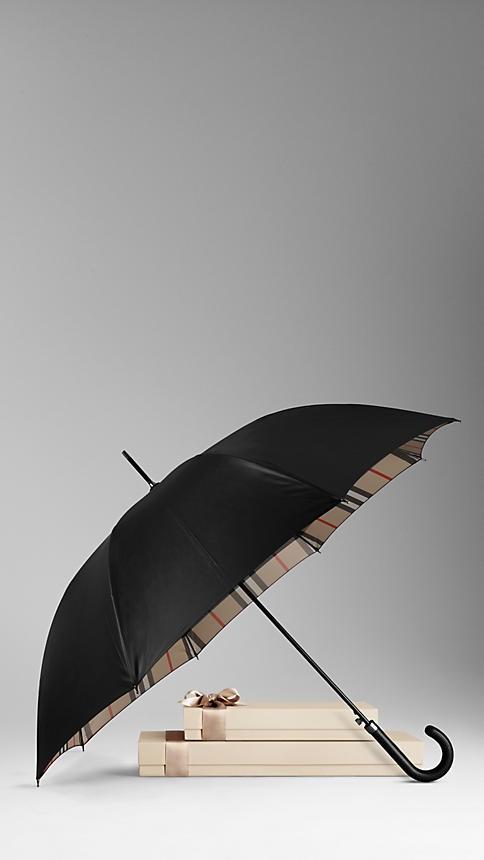 Burberry Check-Lined Walking Umbrella