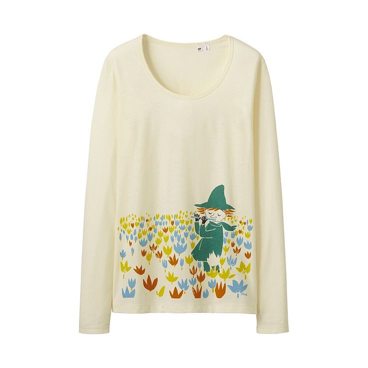 Buy Uniqlo x Moomin Graphic Long Sleeve T-Shirt - Snufkin (Off White) for US$24.99 at uniqlothes.com