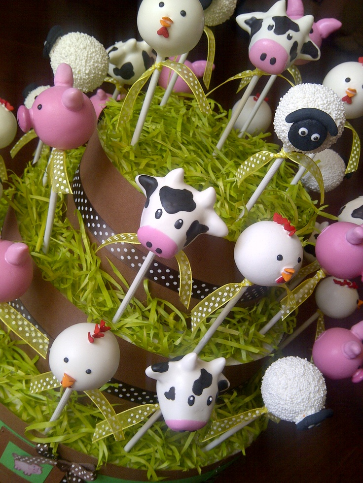 """[farmyard animal cake pops] substitute """"Noah-themed"""" animal cake pops.  Maybe a few in a single tier for use as centerpieces at each table."""