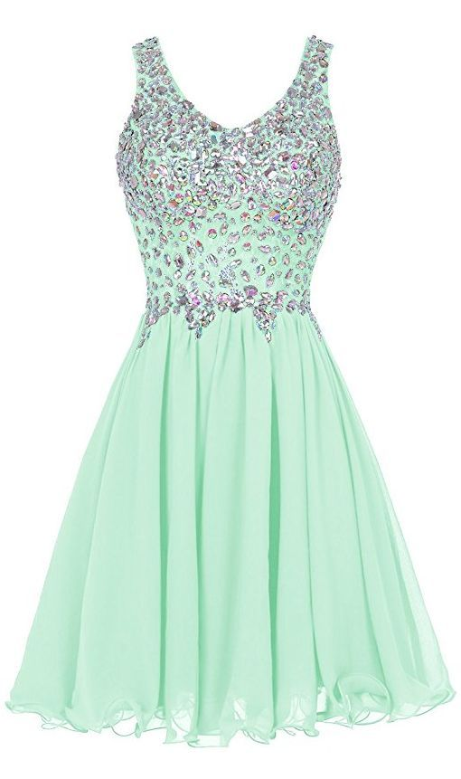 Mint Green Prom Dress,Beaded Prom Dress,Fashion Homecoming Dress,Sexy