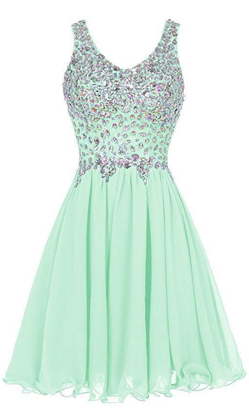 Mint Green Prom Dress,Beaded Prom Dress,Fashion Homecoming Dress,Sexy