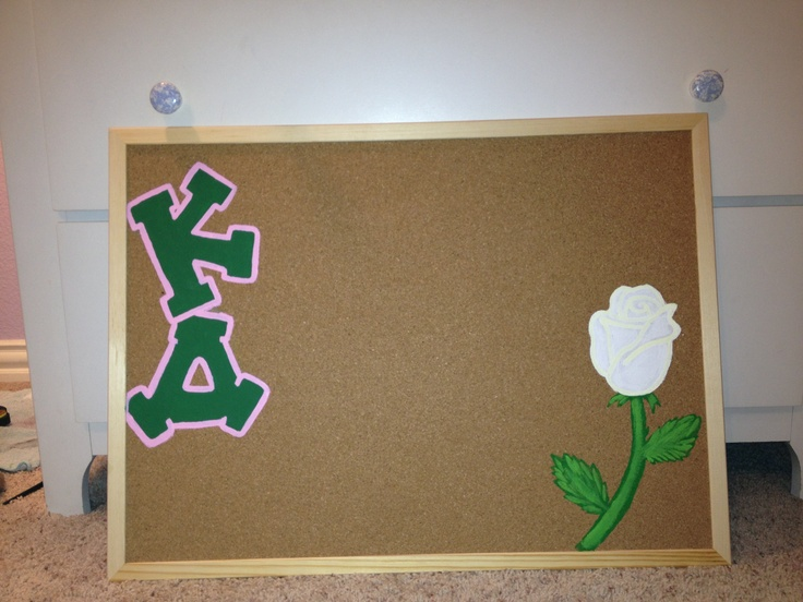 Kappa Delta Cork Board/Bulletin Board with white rose...so cute! https://www.etsy.com/listing/152057909/hand-painted-sorority-framed-cork-board