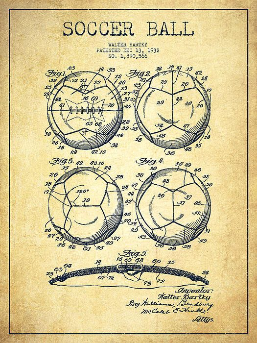 Bartky Soccer Ball Vintage Patent Blueprint by Aged Pixel is printed with  premium inks for brilliant color and then hand-stretched over museum  quality ...