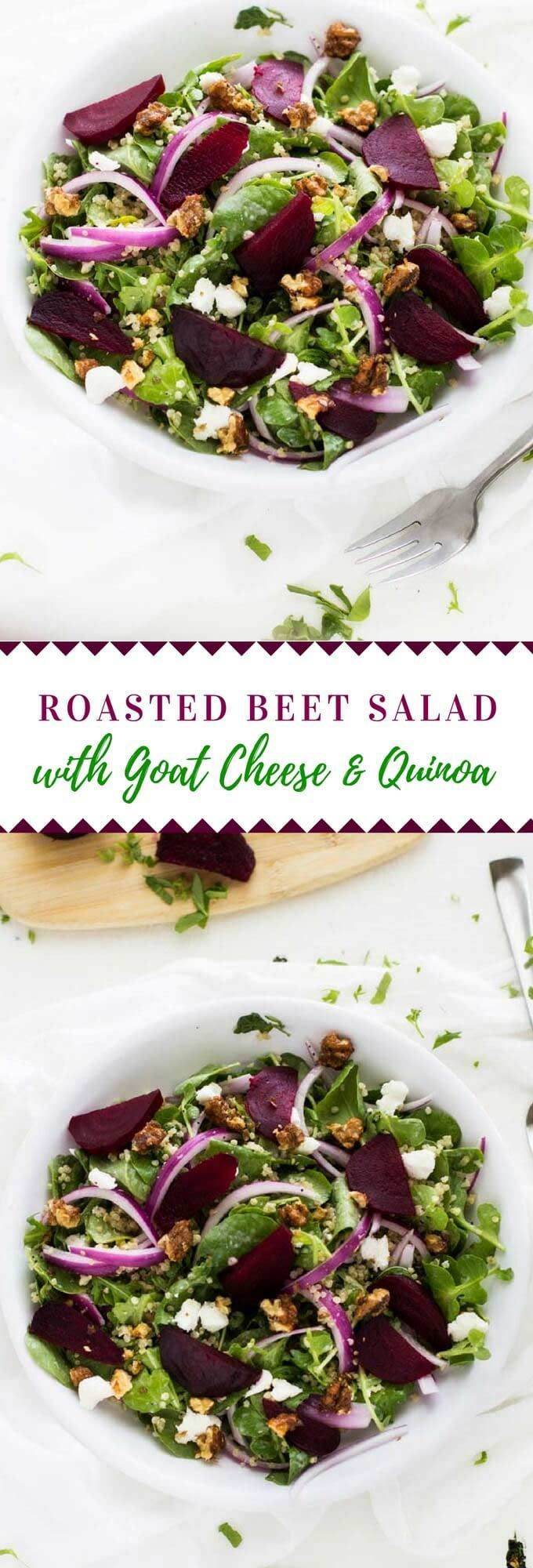 This Roasted Beet Salad with Goat Cheese & Quinoa has a delicious poppy seed dressing.  It makes a fabulous vegetarian main course salad or side dish. #quinoa #salad #vegetarian via @wendypolisi