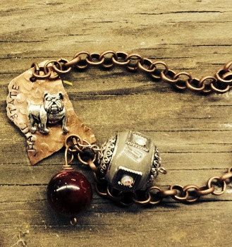 Custom Hand Stamped Copper MSU Mississippi State Hail State Bracelet on Etsy, $28.00