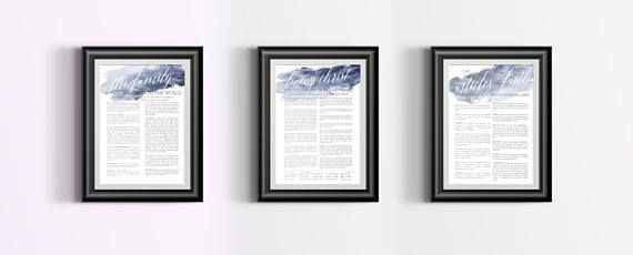 3 Matching LDS Watercolor Print  Family A Proclamation to the World - The Living Christ and Articles of Faith  - Breetique - Digital Print Download - Choose your color!
