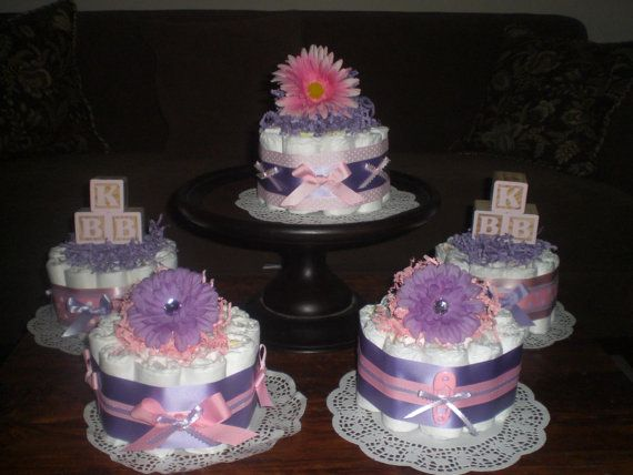 Lavender Baby Shower Themes | Items Similar To Purple And Pink Baby Shower  Centerpieces Diaper Cakes
