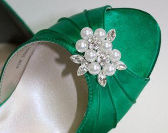 Smaragdgrün Schuhe  Hochzeit  Bridal  Heels  Kristalle von Parisxox