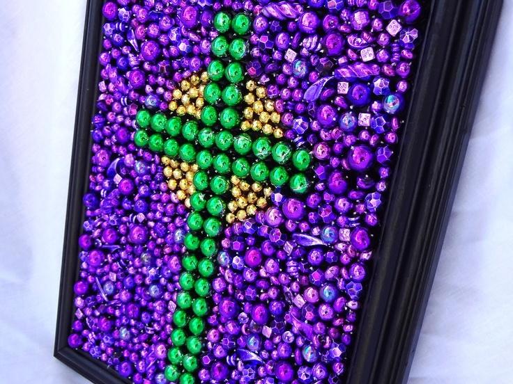Custom order, Framed Mardi Gras bead mosaic, cross,  purple, green, gold, inspirational art. $29.99, via Etsy.