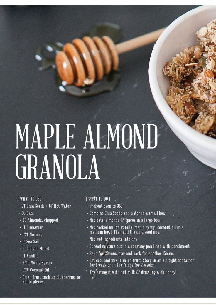 Maple Almond Granola  recipe by ginger     image by Lily Glass