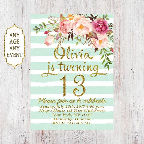 Floral birthday invitation 13th birthday invitations girl mint stripes