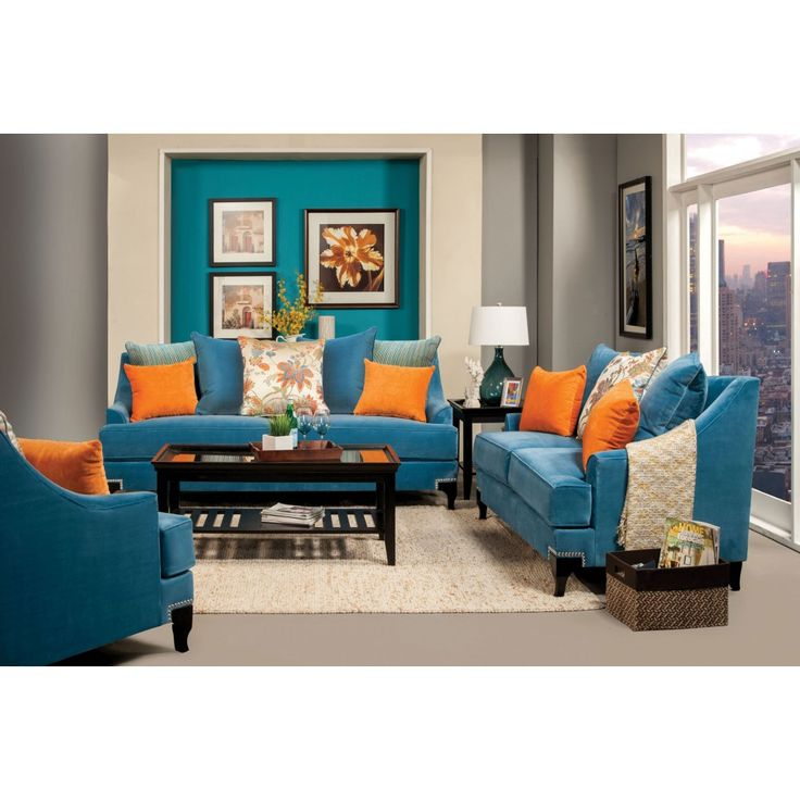 Furniture of America Vincenzo Sm2203 Sofa In Peacock Blue SM2203 SF - blue sofa set