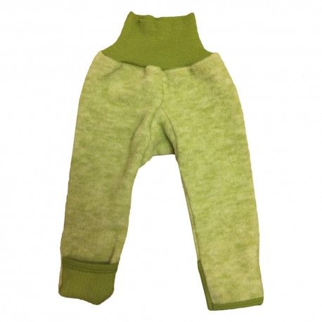 Wool fleece pants with feet, green, Cosilana