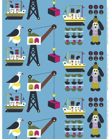 Laivakoira Fabric Blue/Pink/Navy | Kiitos Marimekko
