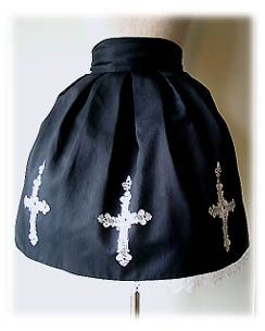 Victorian maiden Double Cross Shantung Skirt 2001. Black X Black